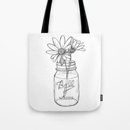 Flowers in a Jar | Mason Ball Jar Sunflowers Daisies Tote Bag