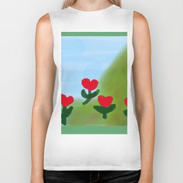 Hearts from a Rose Red and Green Biker Tank