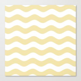 Wavy Stripes (Vanilla/White) Canvas Print