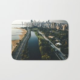 chicago aerial view of the skyline Bath Mat