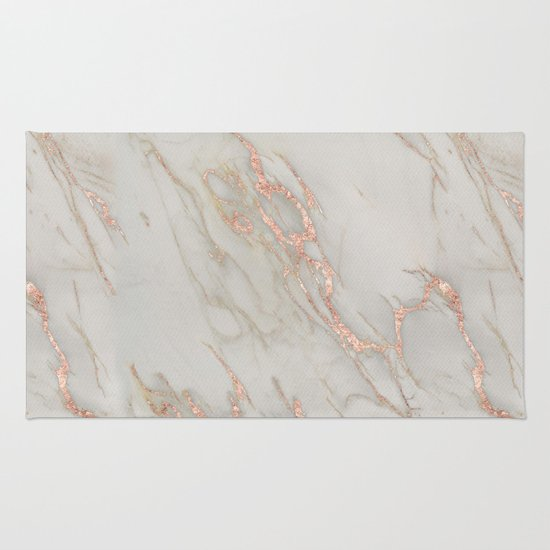 Marble - Rose Gold Marble Metallic Blush Pink Rug by Nature Magick : Society6