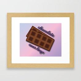 Chocolate over boys Framed Art Print