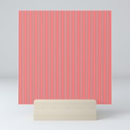 Thin Berry Red and White Rustic Vertical Sailor Stripes Mini Art Print