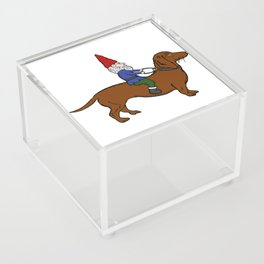 Gnome Riding a Dachshund Acrylic Box