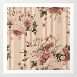 Flowers and Stripes Two Art Print