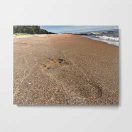 Footprint In The Sand At The Beach - Lake Erie Metal Print