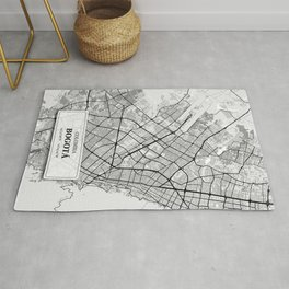 Bogota, Colombia City Map with GPS Coordinates Rug
