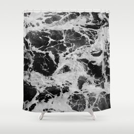Black and White Waves Shower Curtain