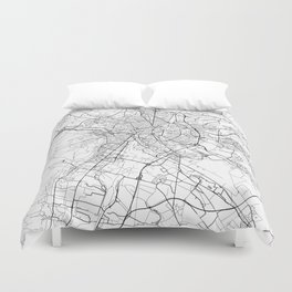 Dijon Map White Duvet Cover