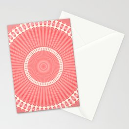 Cream and Coral Simple Mandala Stationery Cards
