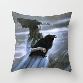 Raven goddes Throw Pillow