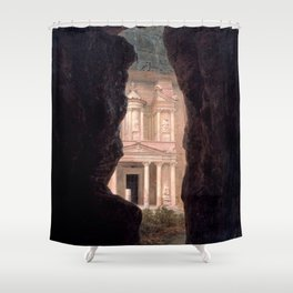 El Khasne, The Treasury Ruins of Petra by Frederic Edwin Church Shower Curtain