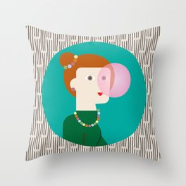 The girl and the bubble gum Throw Pillow