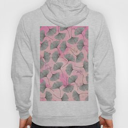 botanical biloba drawing pattern on pink watercolor marble Hoody