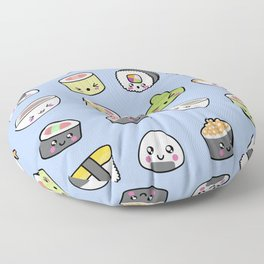 Happy kawaii sushi pattern Floor Pillow