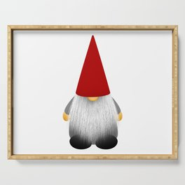 Christmas cute gnome with long white beard and red hat Serving Tray