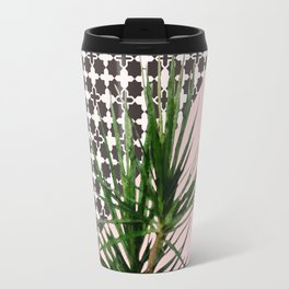 Dracaena Plant on Pink and Lattice Pattern Wall Travel Mug