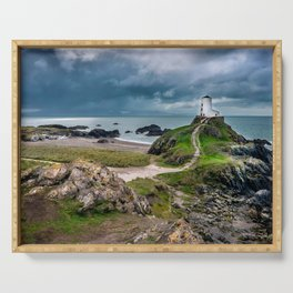 Twr Mawr Lighthouse,North Wales, United Kingdom, Seascape, Nature, Beach Serving Tray