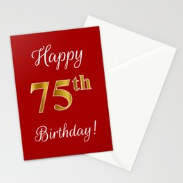 """Elegant """"Happy 75th Birthday!"""" With Faux/Imitation Gold-Inspired Color Pattern Number (on Red) Stationery Cards"""