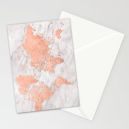 "Rose gold and marble world map with cities, ""Janine"" Stationery Cards"