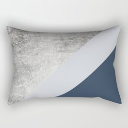 Modern minimalist navy blue grey and silver foil geometric color block Rectangular Pillow