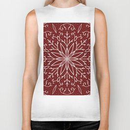Single Snowflake - dark red Biker Tank