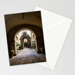 through the courtyard to tranquility; Sicily  Stationery Cards