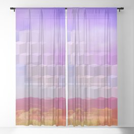 Ultra Surreal Countryside Violet Rainbow Sheer Curtain