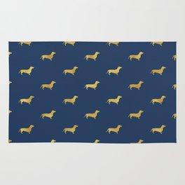 Navy/Gold Dachshund Pattern Rug