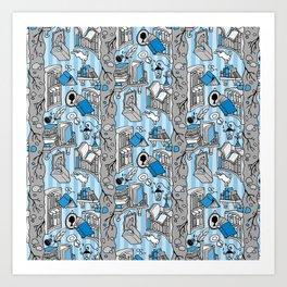 Books: Through the rabbit hole_Gray and Blue Art Print