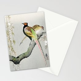 Two Pheasants On Tree illustration Stationery Cards