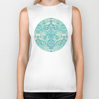 bedding Biker Tanks featuring Botanical Geometry - nature pattern in blue, mint green & cream by micklyn