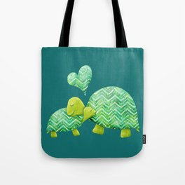 Sweet Turtle Hugs with Heart in Teal and Lime Green Tote Bag