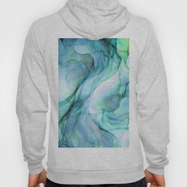 Aqua Turquoise Teal Abstract Ink Painting Hoody