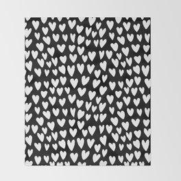 Linocut printmaking hearts pattern minimalist black and white heart gifts Throw Blanket