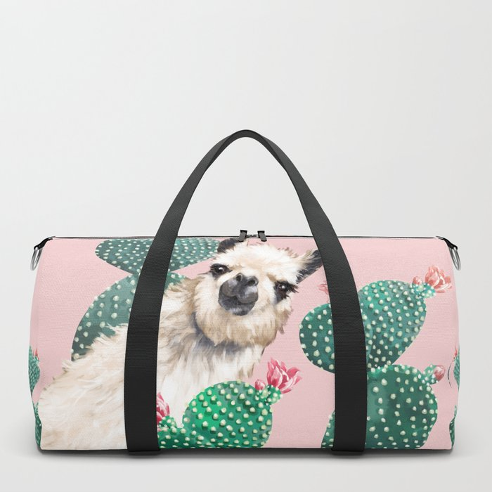 Llama and Cactus Pink Duffle Bag
