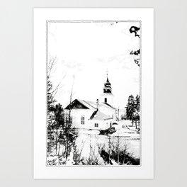 Church in Vilhelmina, Sweden Art Print