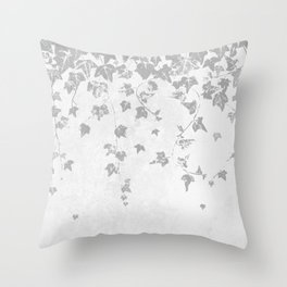Soft Silver Gray Trailing Ivy Leaf Print Throw Pillow
