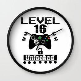 LEVEL 16 UNLOCKED Wall Clock