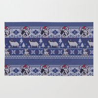 frenchie Area & Throw Rugs featuring Christmas Frenchie by Huebucket