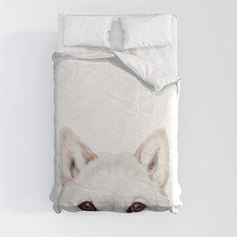 shiba inu white Dog original painting print Comforters