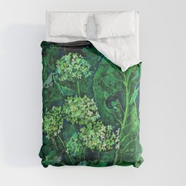 Hydrangea and Horseradish, Floral Art Pastel Painting Black Green Comforters
