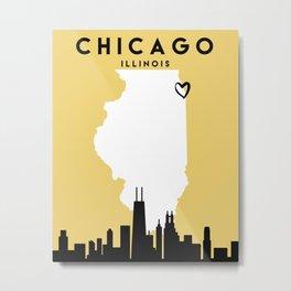 CHICAGO ILLINOIS LOVE CITY SILHOUETTE SKYLINE ART Metal Print