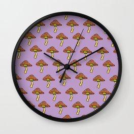 Mushroom Print Wall Clock