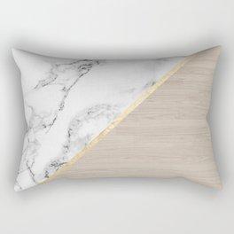 Modern white marble gold stripe wood color block Rectangular Pillow
