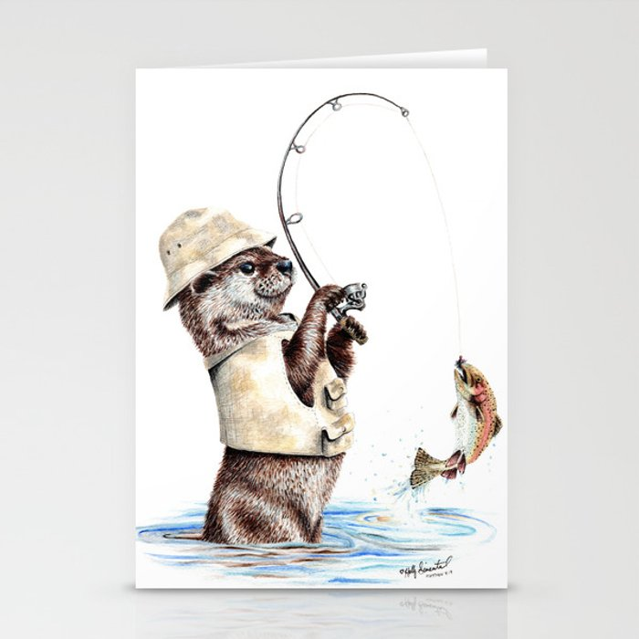 """ Natures Fisherman "" fishing river otter with trout Stationery Cards"