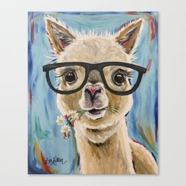 Cute Alpaca With Glasses Canvas Print