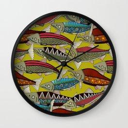 Alaskan salmon chartreuse Wall Clock