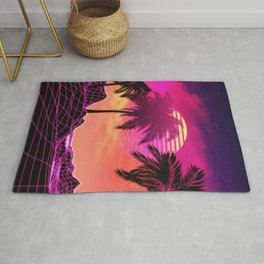 Pink vaporwave landscape with rocks and palms Rug