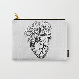Floral Mexican Heart - black and white Carry-All Pouch